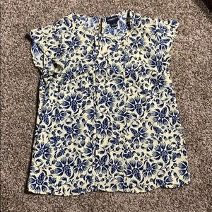 Liz Claiborne yellow and blue floral print shirt
